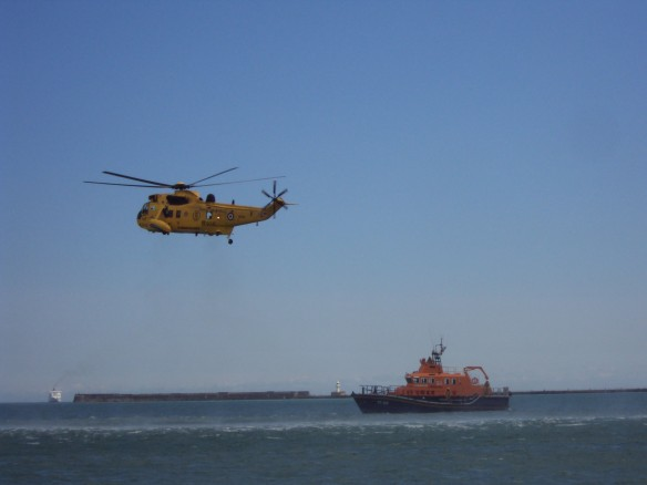 Sea King Rescue Helicopter and Lifeboat at a Coastal Display July 2011