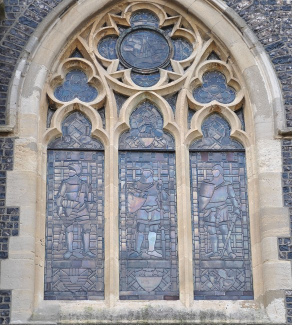 Stained Glass window on the old Town Hall in Dover. This building used to be Maison Dieu (house of God) when it was built in 1253. It was added to and added to, becoming a gaol, a hospital before becoming the Town Hall.  The stained glass is representative of the Cinque Ports.