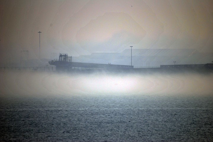Fog lingering around Dover Western (Cruise) Docks. [Image has been adjusted so it can be seen properly]