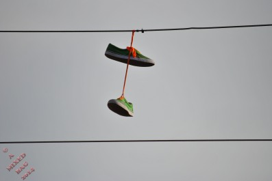 Someone told me that shoes over a wire like this, signifies drugs for sale nearby. That may or may not be true. But you could use it for anything.