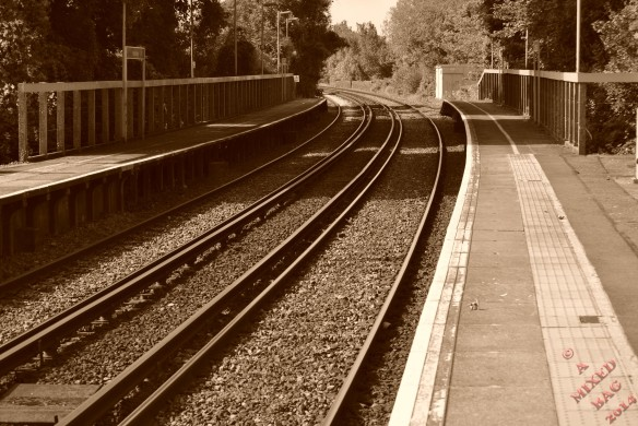 Rail track taken in colour and adjusted to sepia via the after touch menu on the camera to age the image