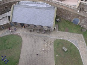 View of one of the outbuildings from the roof of Dover Castle