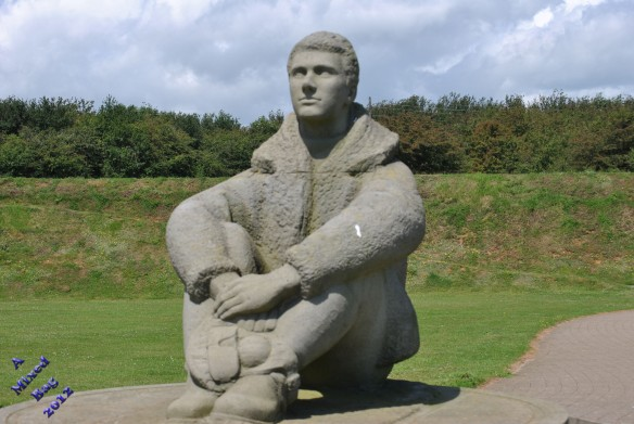Statue of Air Force pilot at Battle of Britain memorial in Capel le Ferne in the UK